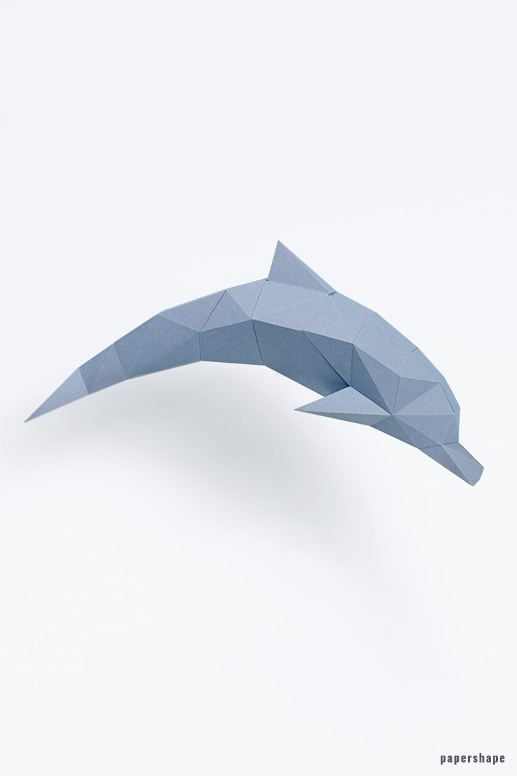 3d dolphins from paper - diy paper sculpture #papershape
