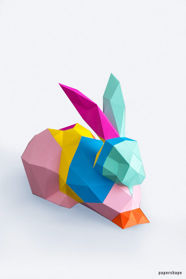 3d Paper bunny DIY #papershape