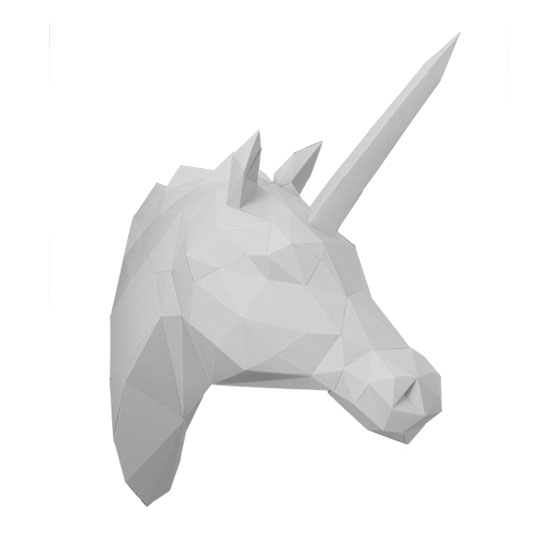 3d unicorn trophy from paper - diy papersculpture as unique wall decor #papershape
