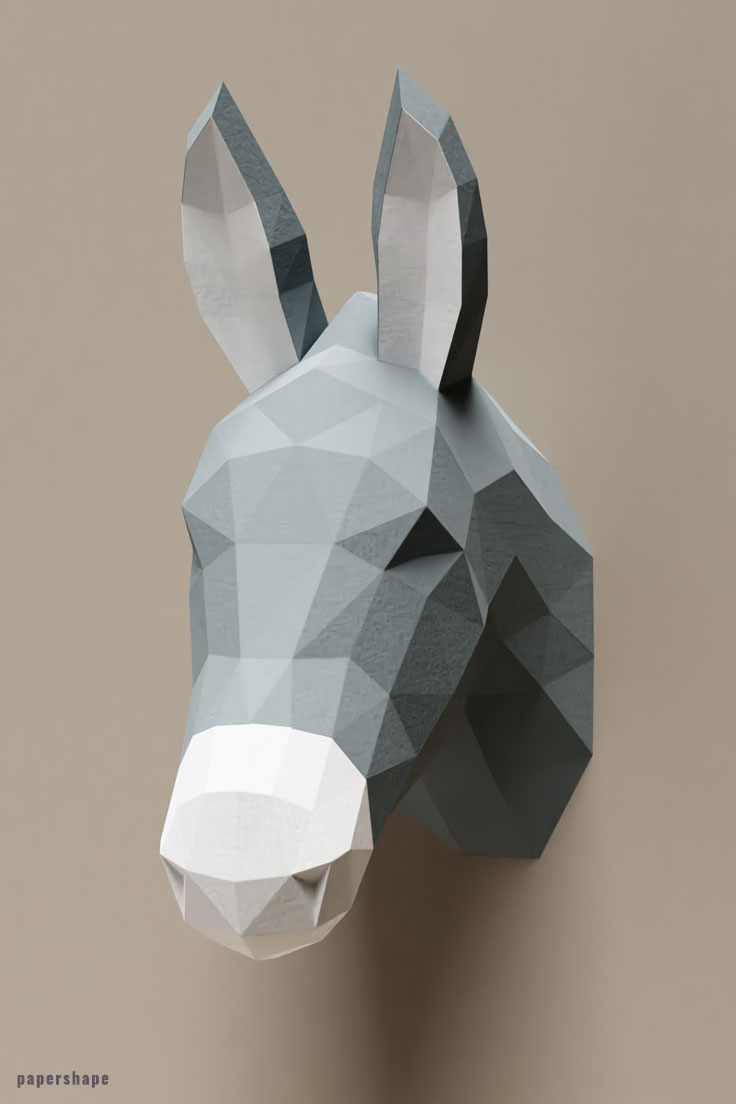 Papercraft donkey Make your own wall art #papercraft #diy #wallart #papershape #donkey