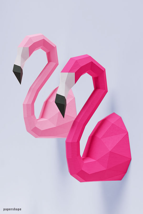 3d flamingo from paper, diy paper sculpture as cool wall decor #papershape