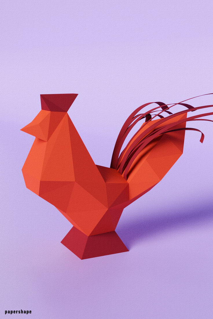 Printable papercraft rooster for Easter #papershape #papercraft #diypapercraft #paperfarmanimals #3dpapermodel #origami