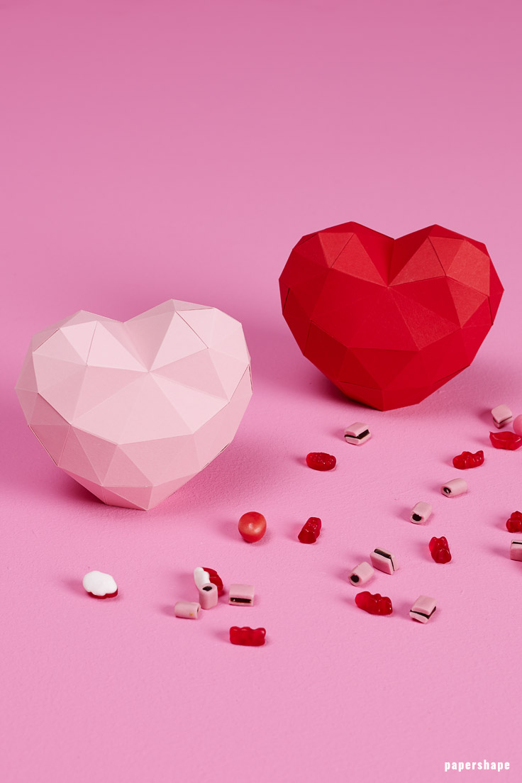 DIY 3d heart from paper - paper craft with template