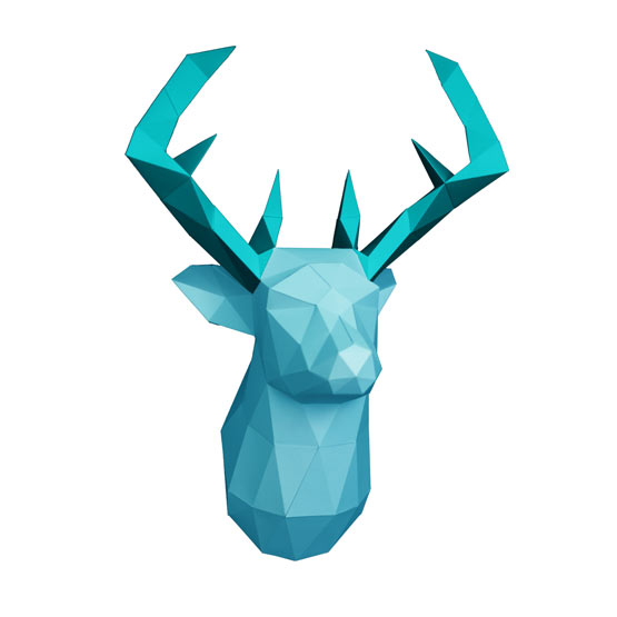 3d Deer head DIY with template #papershape