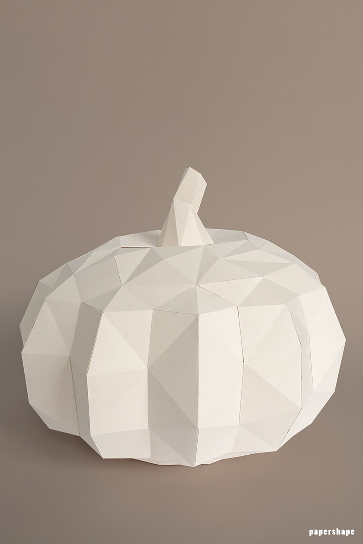 fall decor craft: 3d paper pumpkin with template  #papershape