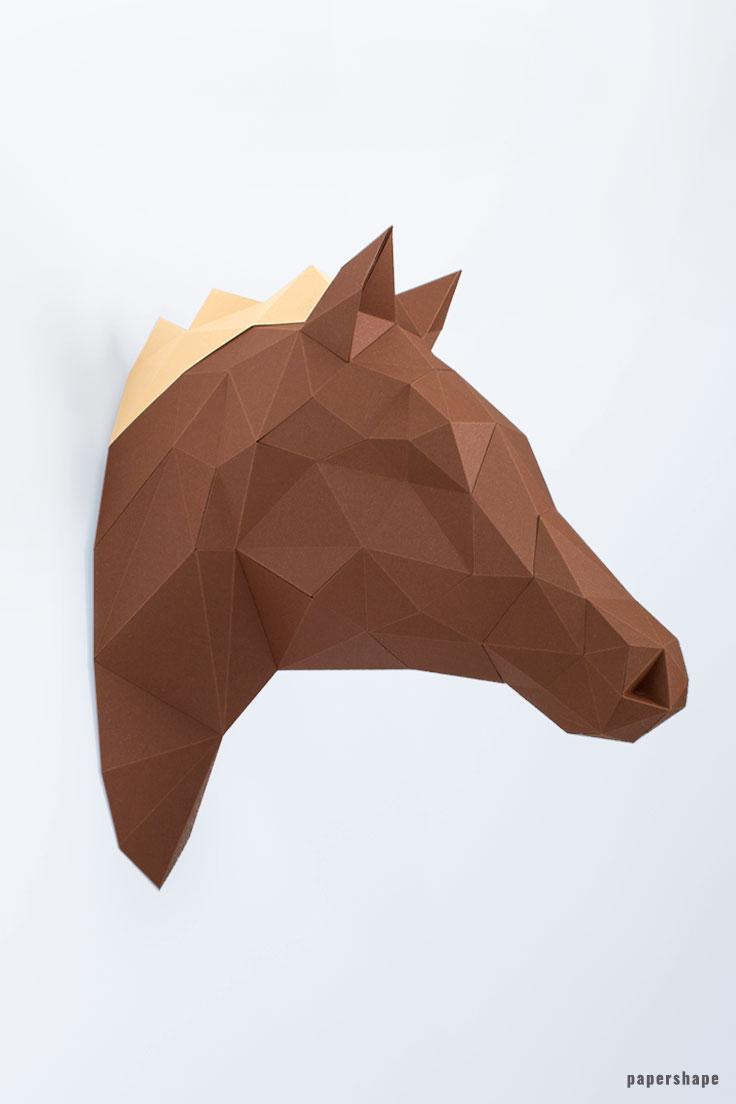pferd aus papierrollen basteln, tierkopf wanddeko aus papier - papershape, Design ideen