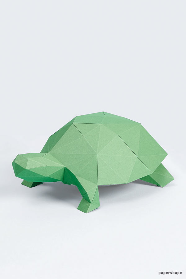 3d paper turtle - diy paper sculpture #papershape