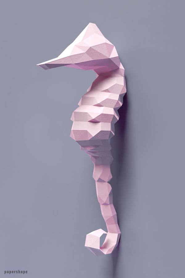 Papercraft sea horse Make your own wall art #papercraft #diy #wallart #papershape