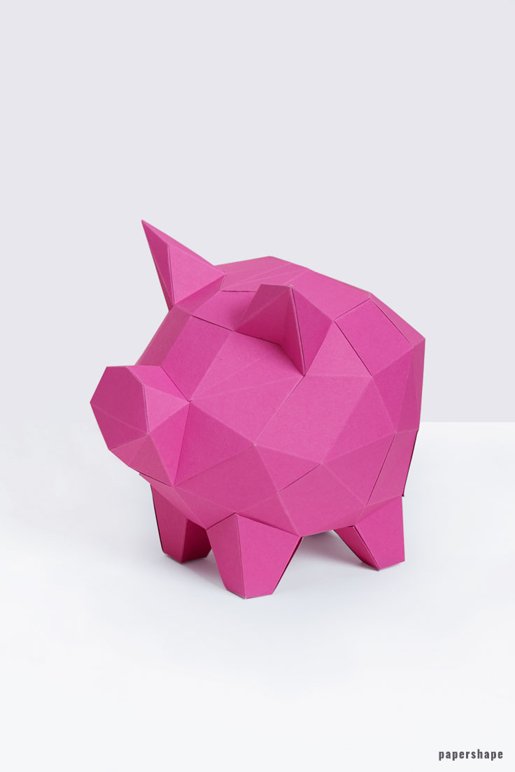 3d Papier Sparschwein Im Low Poly Design