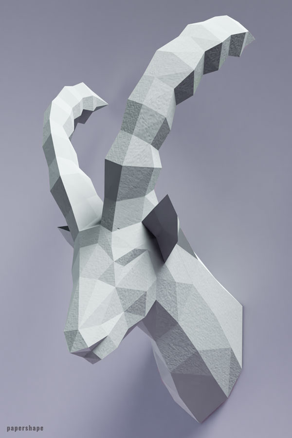 Papercraft capricorn animal head - #aries #papercraft #capricorn #papershape