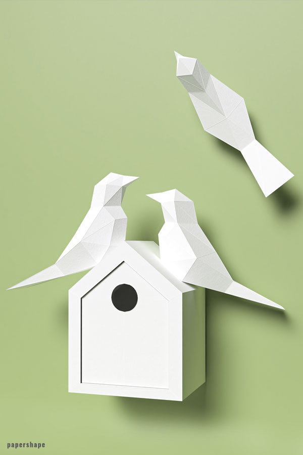 Papercraft bird house from paper for wall decor #diypapercraft #origami #3dpapermodel #origami