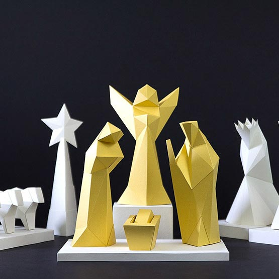 3d nativity scene from paper is a diy christmas calendar #papershape