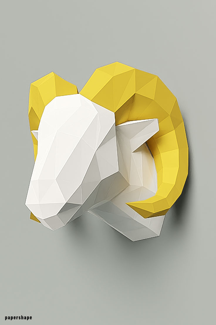 3d aries trophy from paper - diy papersculpture as unique wall decor #papershape
