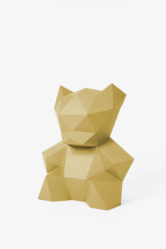 3D Teddy bear from paper for the baby shower. Easy papercraft, draw and sign on it. | PaperShape #papercraft #diy #babyshower