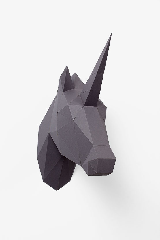 3d Paper Unicorn trophy head. Super easy papercraft diy with no-glue | PaperShape #unicorntrophy #papercraft